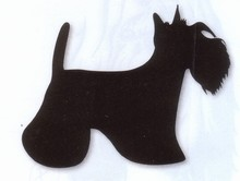 AUTOCOLLANT SCOTTISH TERRIER  ROUGE
